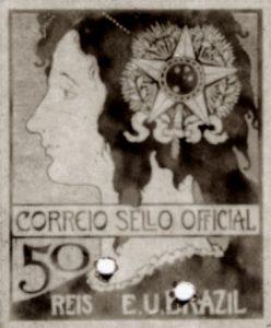 SELO OFICIAL A UNIÃO - PROJETO PARA SELO INTEGRANTE DA COLEÇÃO VENCEDORA DO CONCURSO DOS CORREIOS DE 1904 - NANQUIM E GUACHE/PAPEL - c.1903 - LOCALIZAÇÃO DESCONHECIDA