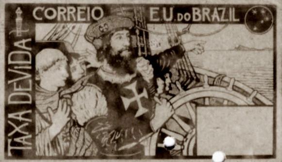 TAXA DEVIDA - TERRA - PROJETO PARA SELO INTEGRANTE DA COLEÇÃO VENCEDORA DO CONCURSO DOS CORREIOS DE 1904 - NANQUIM E GUACHE/PAPEL - c.1903 - LOCALIZAÇÃO DESCONHECIDA