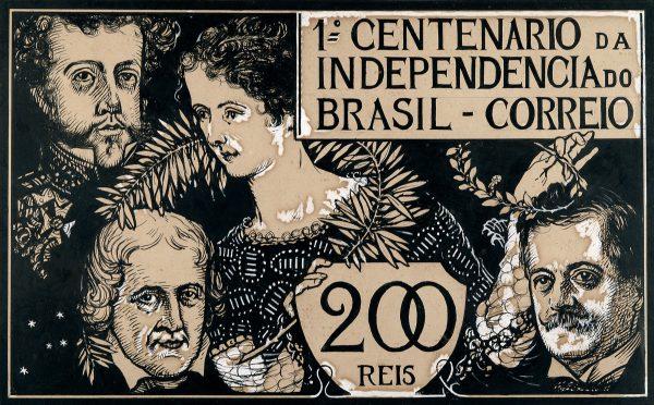 SELO COMEMORATIVO DO 1º CENTENÁRIO DA INDEPENDÊNCIA - 200 RÉIS - ESTUDO PARA SELO - NANQUIM E GUACHE/PAPEL - 24,0 x 39,5 cm - 1922 - COLEÇÃO PARTICULAR