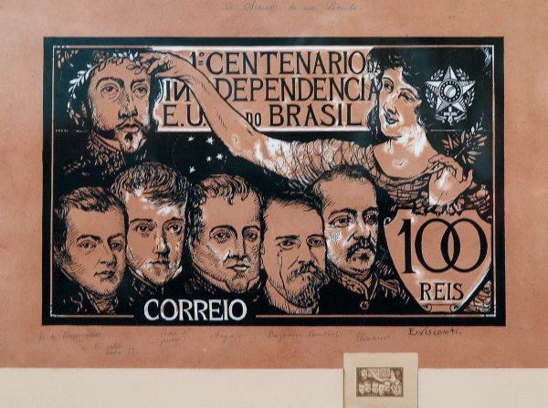SELO COMEMORATIVO DO 1º CENTENÁRIO DA INDEPENDÊNCIA - 100 RÉIS - ESTUDO PARA SELO - NANQUIM E GUACHE/PAPEL - 43 x 55 cm - 1922 - COLEÇÃO PARTICULAR