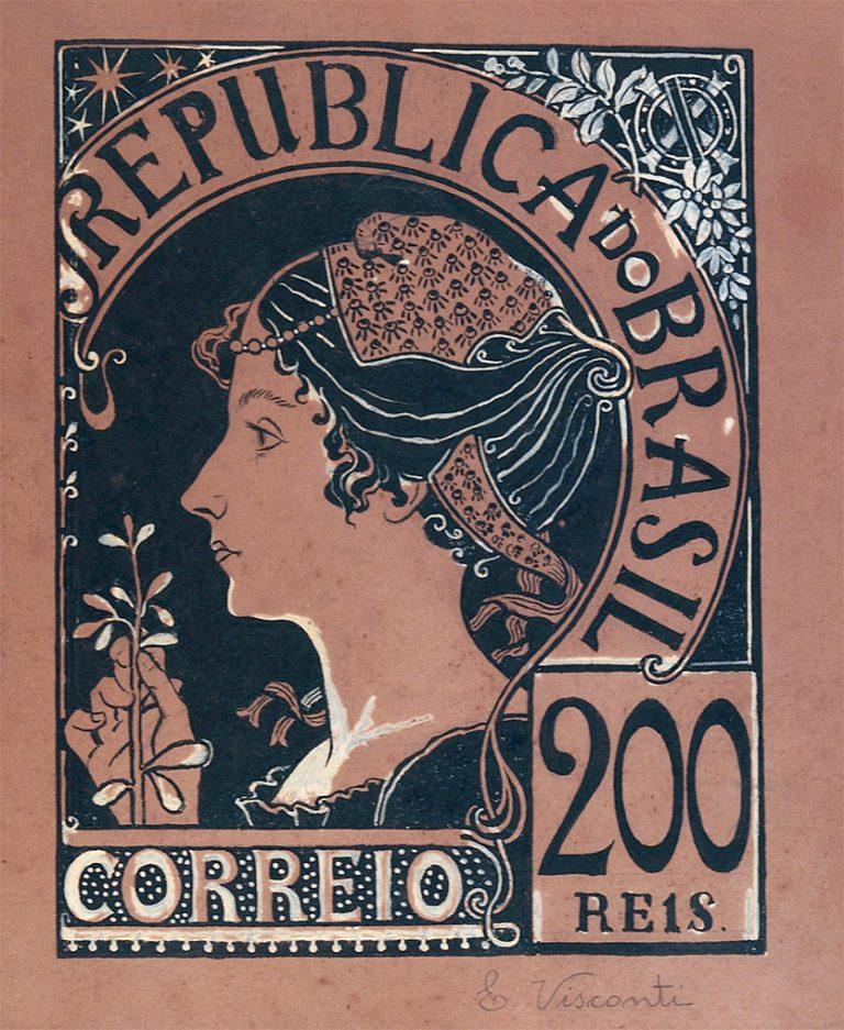 A REPÚBLICA - ESTUDO PARA SELO INTEGRANTE DA COLEÇÃO VENCEDORA DO CONCURSO DOS CORREIOS DE 1904 - NANQUIM E GUACHE/PAPEL - 28 x 23 cm - c.1903 - COLEÇÃO PARTICULAR
