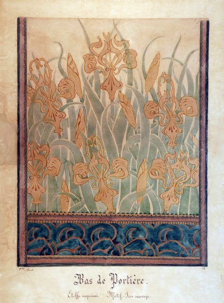 BAS DE PORTIÈRE/IRIS SELVAGENS - ESTUDO PARA TECIDO - GUACHE/PAPEL - 61 x 47 cm - c.1896 - MUSEU NACIONAL DE BELAS ARTES - MNBA - RIO DE JANEIRO/RJ