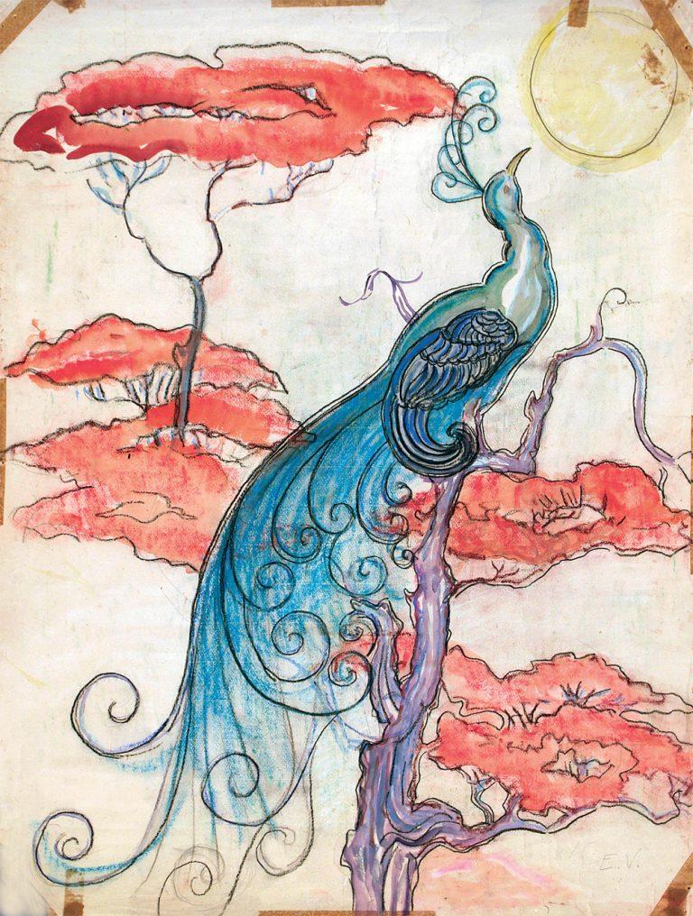 PAVÃO ILUMINADO - ESTUDO PARA TECIDO - NANQUIM E GUACHE/PAPEL - 63 x 48 cm - c.1900 - COLEÇÃO PARTICULAR