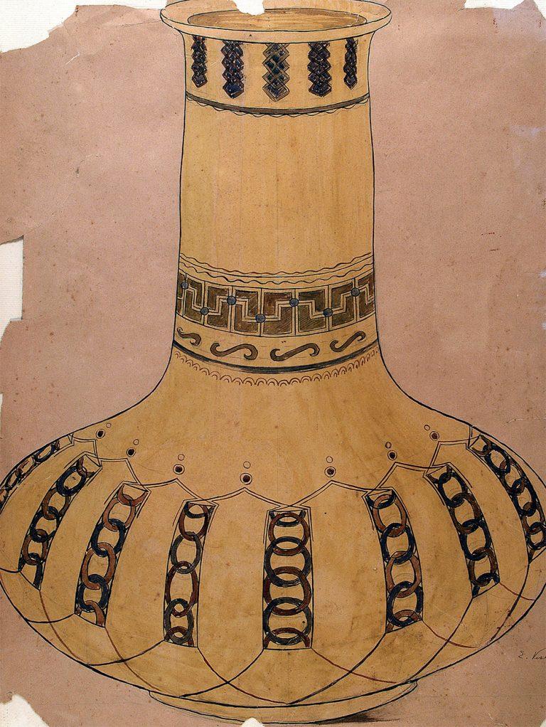 VASO EM GRÈS - ESTUDO PARA VASO - NANQUIM E GUACHE/PAPEL - 54 x 41 cm - c.1900 - COLEÇÃO PARTICULAR