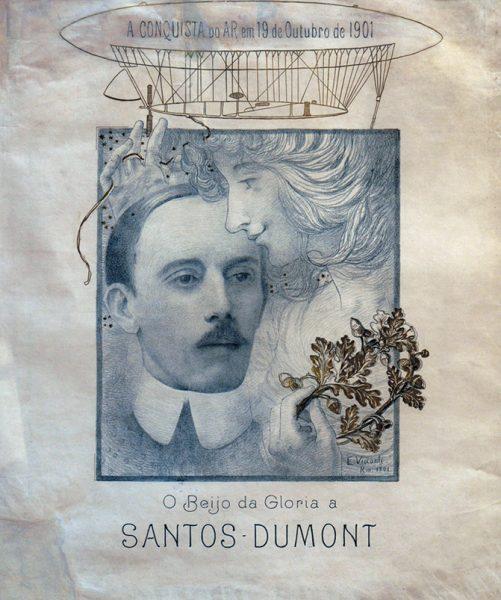 O BEIJO DA GLÓRIA A SANTOS DUMONT - CARTAZ - LITOGRAFIA MONOCROMÁTICA COM OURO - 69,5 x 50,0 cm - 1901 - COLEÇÃO PARTICULAR