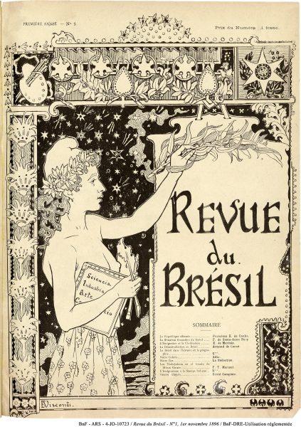 CAPA DO PRIMEIRO NÚMERO DA REVUE DU BRÉSIL EDITADA EM PARIS - NOVEMBRO DE 1896 - 37 x 29 cm - ARTE ORIGINAL DE LOCALIZAÇÃO DESCONHECIDA