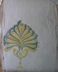 MOTIVO ORNAMENTAL - ESTUDO PARA ORNATO - GUACHE SOBRE PAPEL - 67 x 50 cm - c.1900 - COLEÇÃO PARTICULAR
