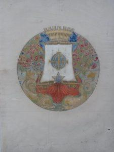 BRASÃO DA CIDADE DO RIO DE JANEIRO - ESTUDO - AQUARELA E GUACHE SOBRE PAPEL - 36,5 x 25,5 cm - IMAGEM 18 cm DIÂMETRO - 1931 - COLEÇÃO PARTICULAR