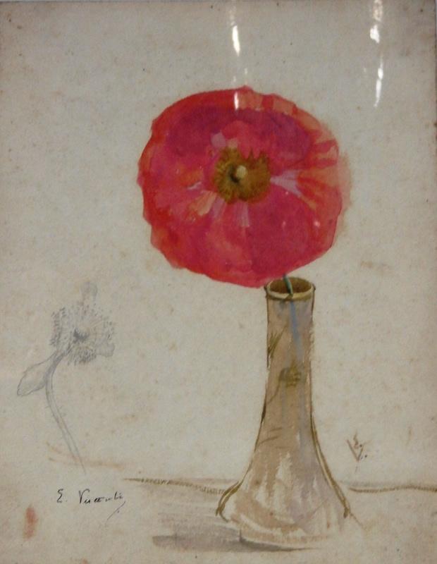 PAPOULA E CRAVO - AQUARELA - 27 x 21 cm - c.1900 - COLEÇÃO PARTICULAR