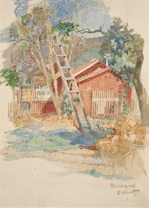 FUNDO DE QUINTAL NO ANDARAÍ - AQUARELA - 34 x 25 cm - 1906 - COLEÇÃO PARTICULAR