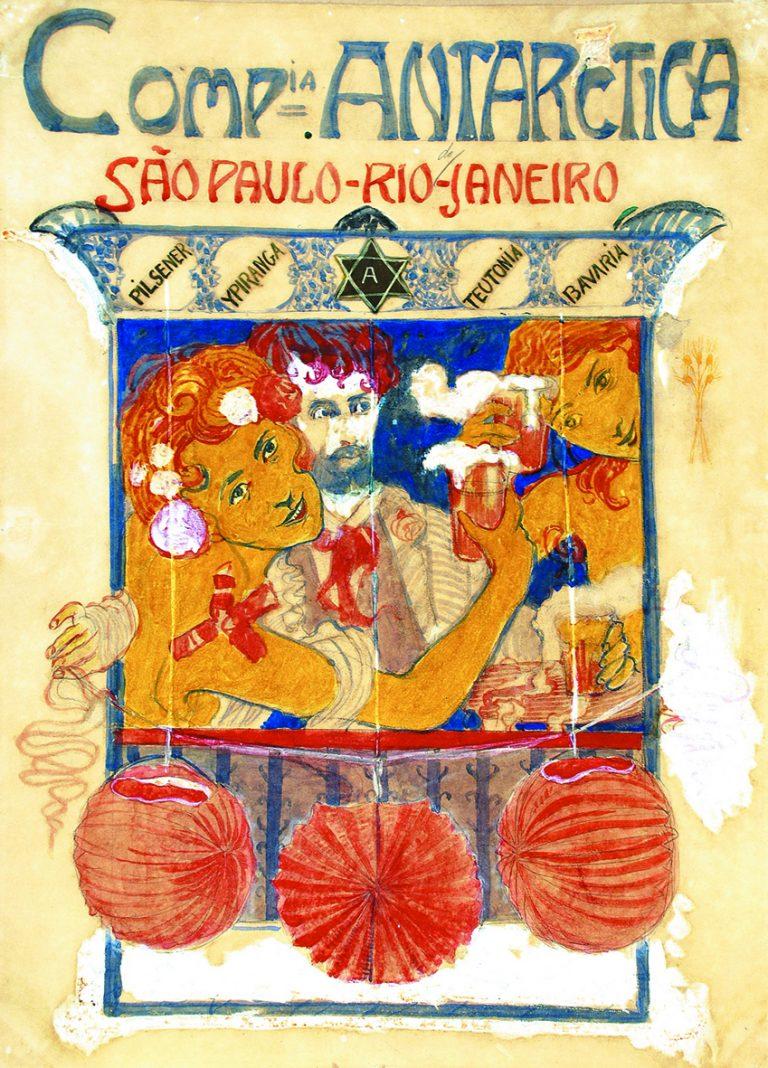 CARTAZ DA COMPANHIA ANTARCTICA - PROJETO PARA O PANO DE BOCA DO CASSINO ANTARCTICA - GUACHE E AQUARELA SOBRE PAPEL - 50,5 x 37,0 cm - c.1920 - MUSEU NACIONAL DE BELAS ARTES - MNBA - RIO DE JANEIRO/RJ