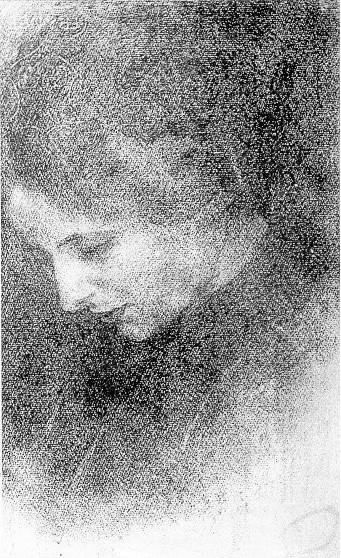 ROSTO DE YVONNE - CRAYON S/PAPEL - 43 x 27 cm - c.1920 - LOCALIZAÇÃO DESCONHECIDA