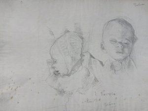RETRATO DE TOBIAS AOS DOIS MESES - CRAYON/PAPEL - 21 x 30 cm - 1910 - COLEÇÃO PARTICULAR