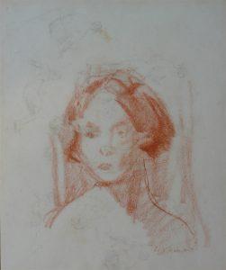 ROSTO FEMININO - SANGUÍNEA - 27 x 23 cm - c.1920 - COLEÇÃO PARTICULAR