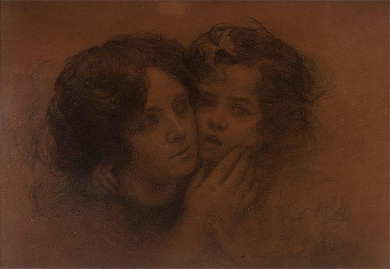 CARINHOS - CRAYON/PAPEL - 36 x 53 cm - c.1920 - COLEÇÃO PARTICULAR