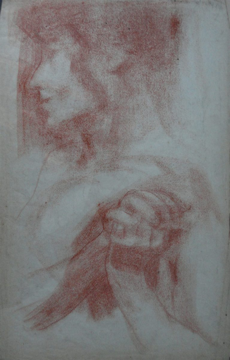 PERFIL E MÃOS - SANGUÍNEA - 43 x 26 cm - c.1906 - COLEÇÃO PARTICULAR