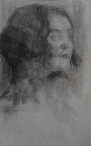 CABEÇA FEMININA - CRAYON/PAPEL - 43 x 26 cm - 1918 - COLEÇÃO PARTICULAR