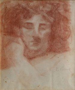 ROSTO FEMININO - SANGUÍNEA - 31 x 26 cm - c.1905 - COLEÇÃO PARTICULAR