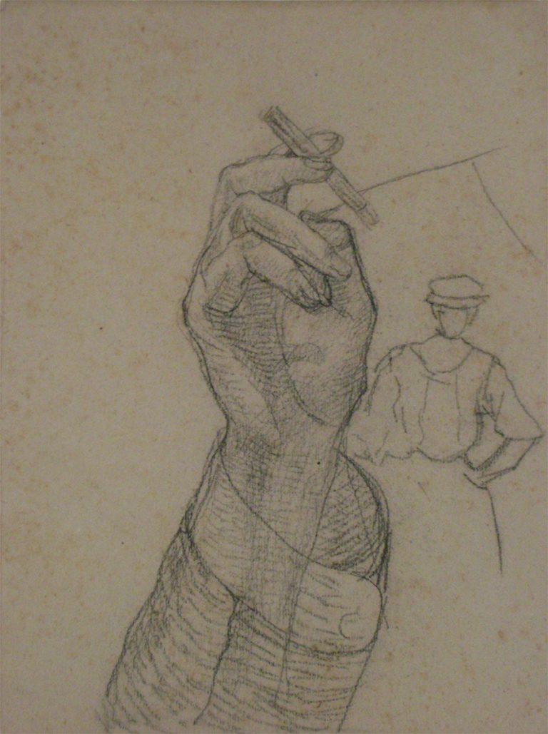 MÃO - ESTUDO PARA O RETRATO DE GONZAGA DUQUE - CRAYON S/PAPEL - 31,0 x 23,5 cm - c.1910 - COLEÇÃO PARTICULAR