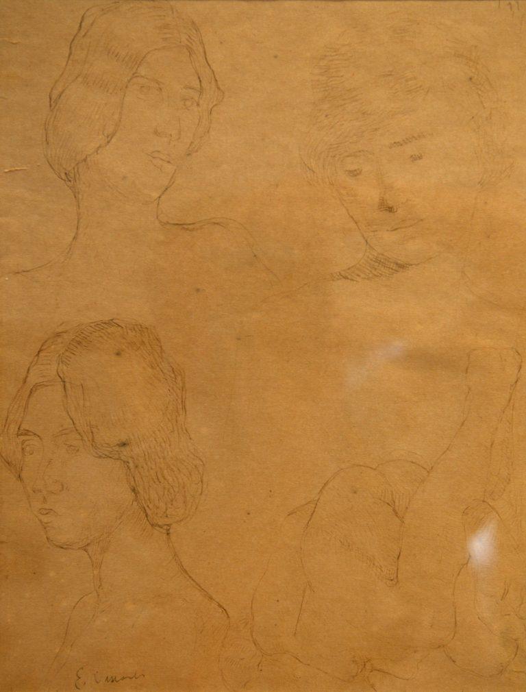 CABEÇAS FEMININAS - BICO DE PENA S/ PAPEL - 30 x 23 cm - c.1897 - COLEÇÃO PARTICULAR