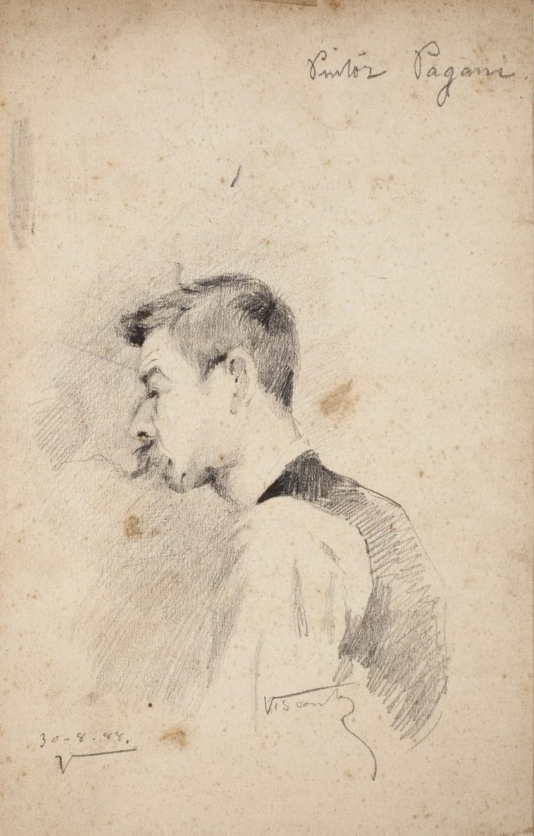PINTOR JOÃO BAPTISTA PAGANI - CRAYON S/ PAPEL - 22 x 14 cm - 1888 - COLEÇÃO PARTICULAR