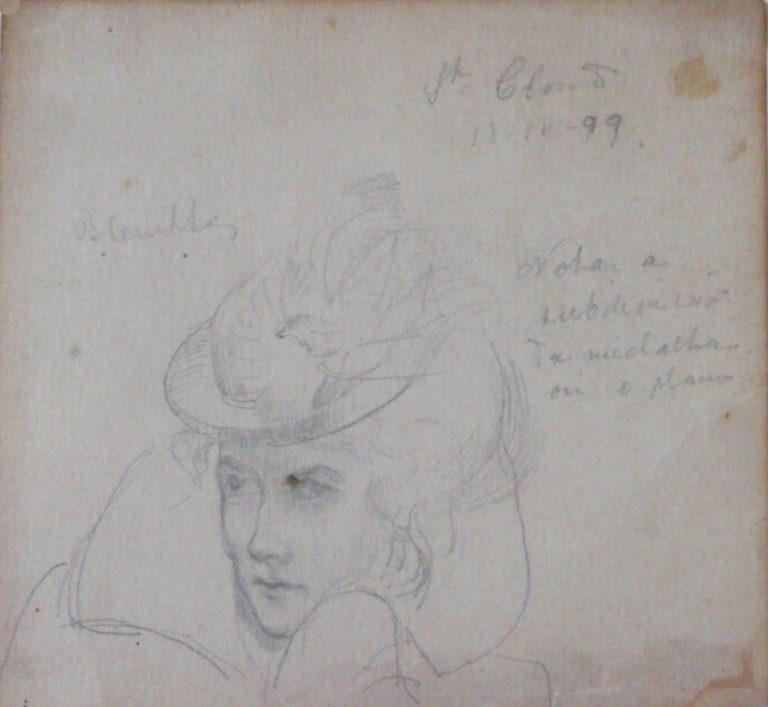 CABEÇA FEMININA - CRAYON S/ PAPEL - 11 x 11 cm - 1899 - COLEÇÃO PARTICULAR