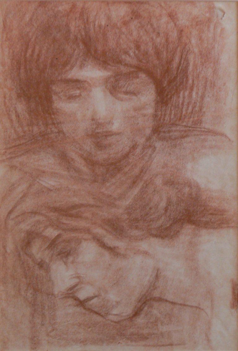 CABEÇAS - SANGUÍNEA - 40,5 x 25,5 cm - c.1910 - COLEÇÃO PARTICULAR