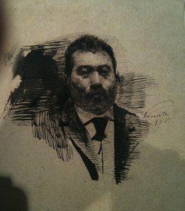 ROSTO DE HOMEM - NANQUIM S/ PAPEL -17,5 x 14,5 cm - 1890 - COLEÇÃO PARTICULAR