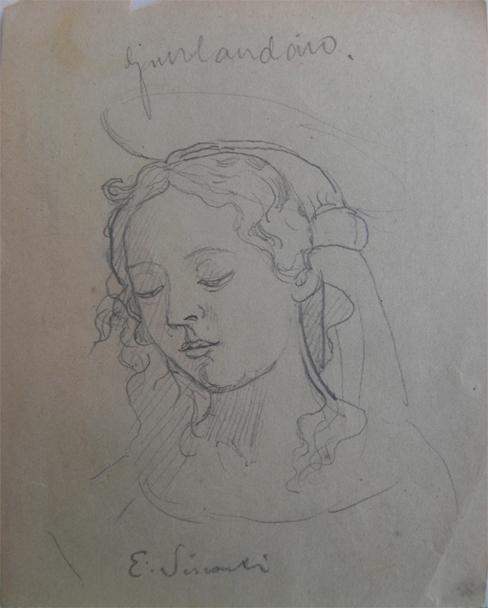 FIGURA FEMININA - GRAFITE S/ PAPEL - 11 x 8 cm - c.1895 - COLEÇÃO PARTICULAR