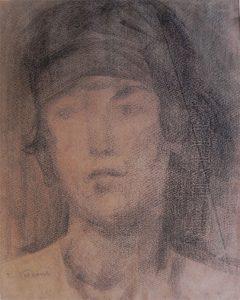 CABEÇA DE MULHER - CRAYON S/ PAPEL - 30 x 22 cm - c.1900 - COLEÇÃO PARTICULAR