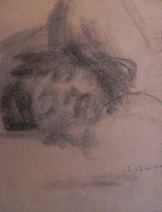 CABEÇA FEMININA - CRAYON S/ PAPEL - 30 x 23 cm - c.1900 - COLEÇÃO PARTICULAR