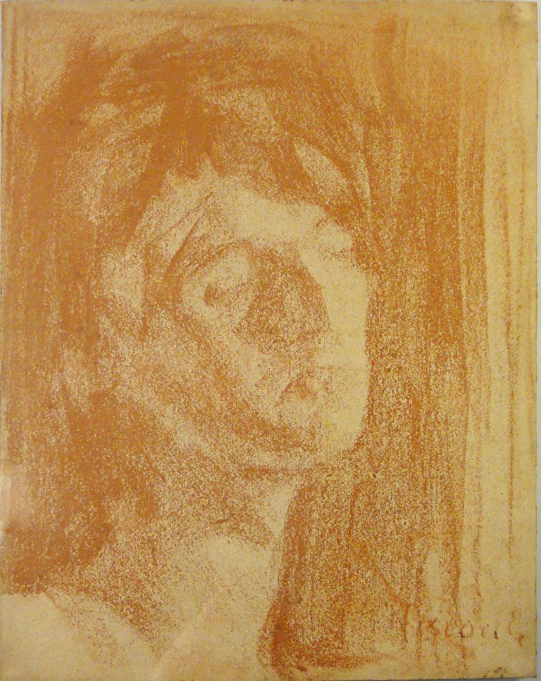 CABEÇA DE MULHER - SANGUÍNEA - 32 x 24 cm - c.1910 - COLEÇÃO PARTICULAR