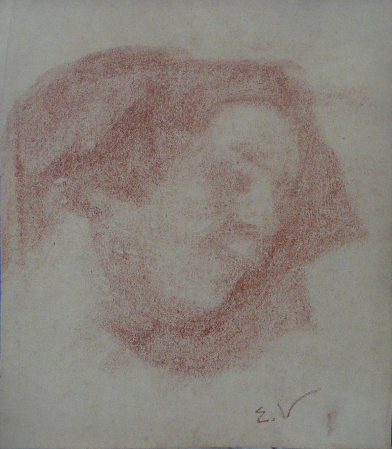 CABEÇA FEMININA - SANGUÍNEA - 32 x 24 cm - c.1897 - COLEÇÃO PARTICULAR