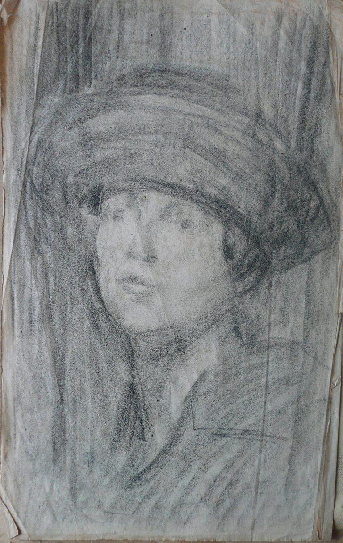 FIGURA FEMININA COM CHAPÉU - CARVÃO SOBRE PAPEL - 43 x 27 cm - c.1910 - COLEÇÃO PARTICULAR