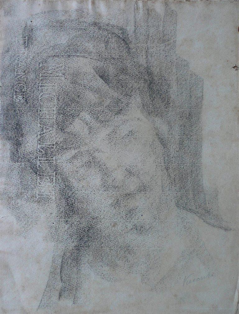 FIGURA FEMININA - CRAYON SOBRE PAPEL - 31 x 24 cm - c.1915 - COLEÇÃO PARTICULAR