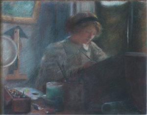 INTERIOR DO ATELIER DE ALINE LAMY - PASTEL SOBRE TELA - 45 x 54 cm - 1894 - COLEÇÃO PARTICULAR