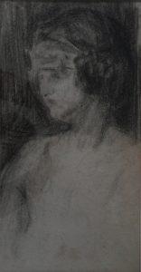 BUSTO FEMININO - CRAYON S/ PAPEL - 43 x 26 cm - c.1897 - COLEÇÃO PARTICULAR