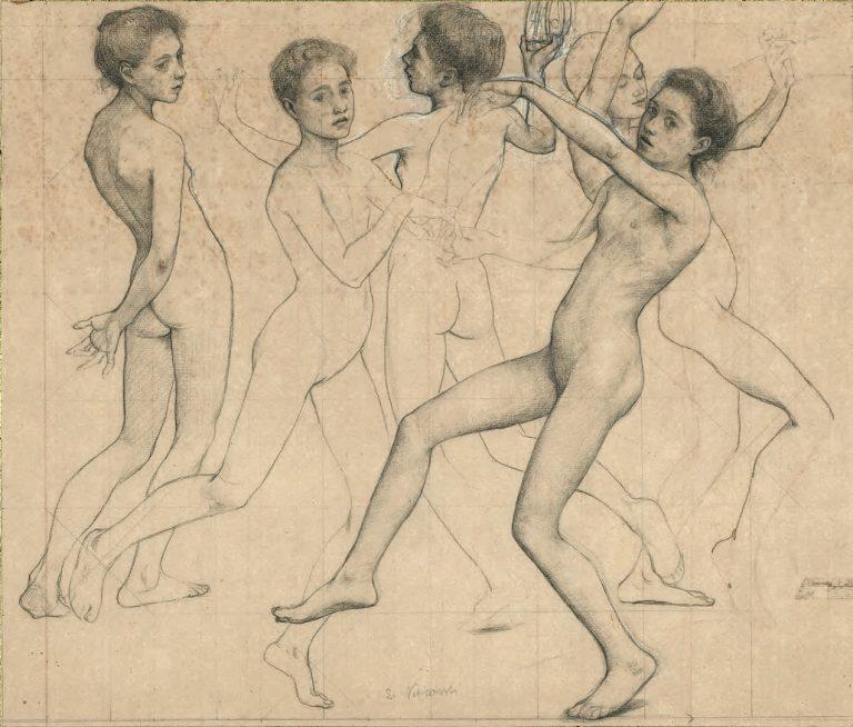 FIGURAS - ESTUDO PARA ORÉADAS - GRAFITE/PAPEL - 41 x 48 cm - c.1899 - LOCALIZAÇÃO DESCONHECIDA