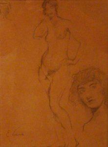 NU E ROSTO - CRAYON/PAPEL - 30 x 22 cm - c.1895 - COLEÇÃO PARTICULAR