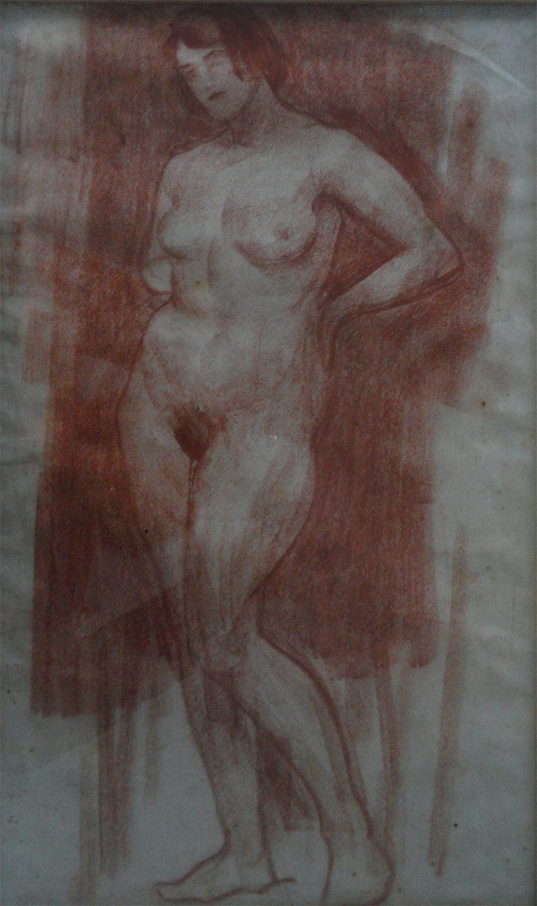 NU FEMININO DE PÉ - SANGUÍNEA - 43 x 26 cm - c.1900 - COLEÇÃO PARTICULAR