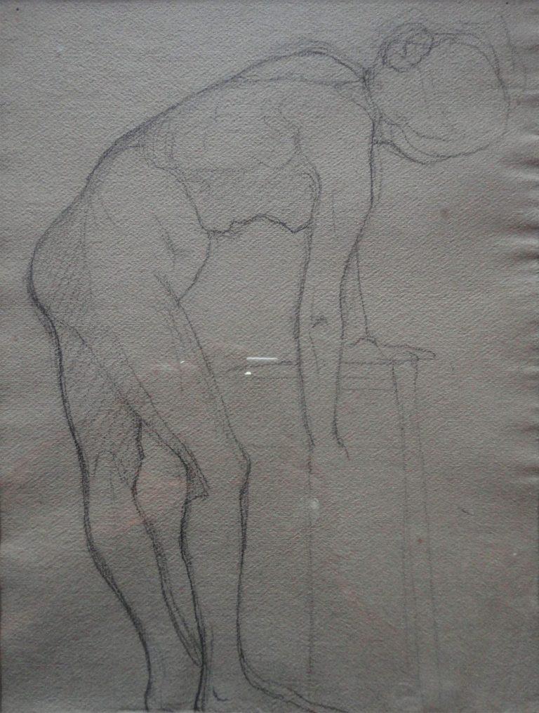 NU FEMININO - CRAYON/PAPEL - 32 x 24 cm - c.1895 - COLEÇÃO PARTICULAR