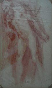 NU MASCULINO - SANGUÍNEA - 43 x 26 cm - c.1900 - COLEÇÃO PARTICULAR