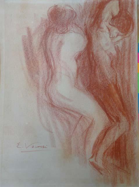 NUS FEMININOS - SANGUÍNEA - 40,5 x 30,5 cm - c.1895 - COLEÇÃO PARTICULAR