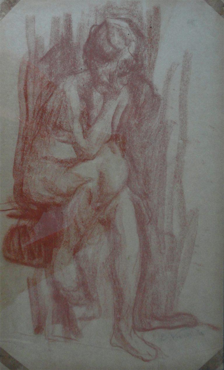 PENSATIVA - SANGUÍNEA - 43 x 26 cm - c.1895 - COLEÇÃO PARTICULAR