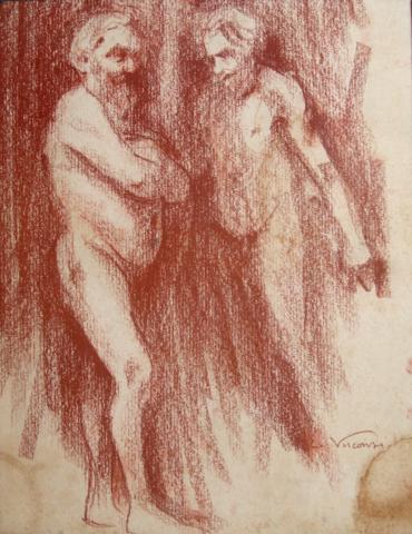 NUS MASCULINOS - SANGUÍNEA - 37 x 28 cm - c.1895 - COLEÇÃO PARTICULAR