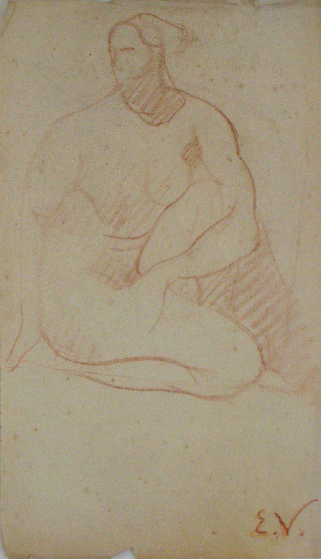 NU SENTADO - SANGUÍNEA - 43,0 x 25,5 cm - c.1900 - COLEÇÃO PARTICULAR