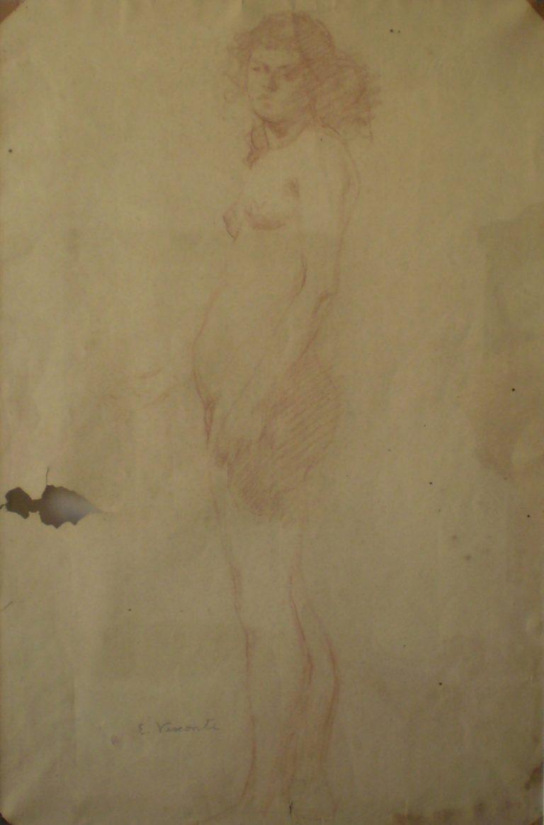 NU FEMININO DE PÉ - SANGUÍNEA - 47,0 x 31,0 cm - c.1895 - COLEÇÃO PARTICULAR