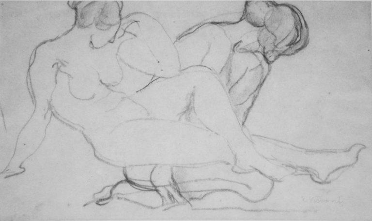 FIGURAS FEMININAS - CRAYON S/ PAPEL - 26 x 42 cm - c.1900 - COLEÇÃO PARTICULAR