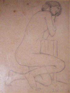 NU FEMININO AJOELHADO - CRAYON S/ PAPEL - 31 x 24 cm - c.1895 - COLEÇÃO PARTICULAR