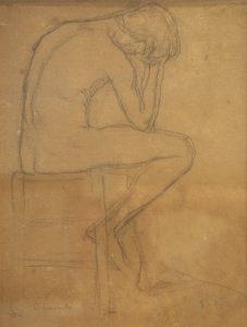 FIGURA DE HOMEM - CRAYON S/ PAPEL - 30 x 23 cm - c.1895 - COLEÇÃO PARTICULAR